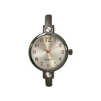 Olivia Pratt Womens Gray Strap Watch-80006gunmetal