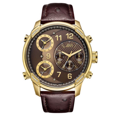 JBW Diamond Mens Brown Strap Watch-J6353a