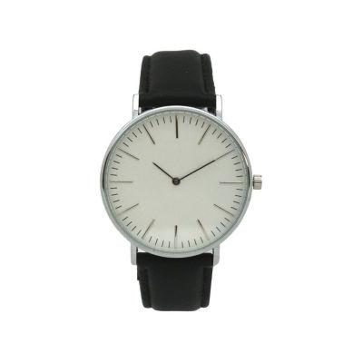 Olivia Pratt Womens Silver Tone Strap Watch-D60019blackwhite
