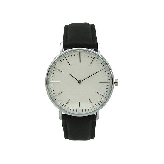 Olivia Pratt Womens Silver Tone Leather Strap Watch-D60019blackwhite