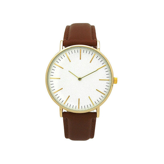 Olivia Pratt Womens Gold Tone Leather Strap Watch-D60019darkbrown