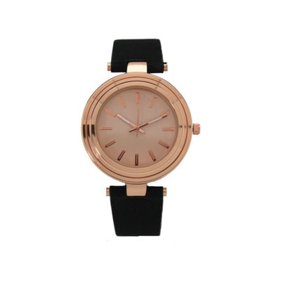 Olivia Pratt Womens Black Strap Watch-16782blackrose