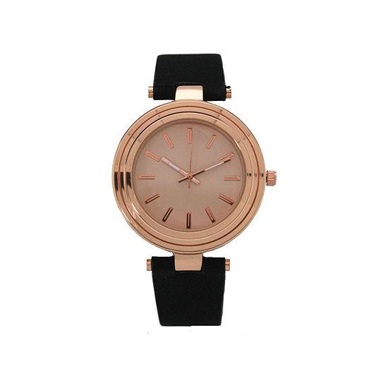 Olivia Pratt Womens Black Leather Strap Watch-16782blackrose