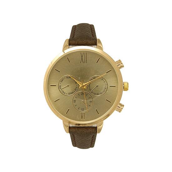 Olivia Pratt Womens Brown Leather Strap Watch-16179bronze