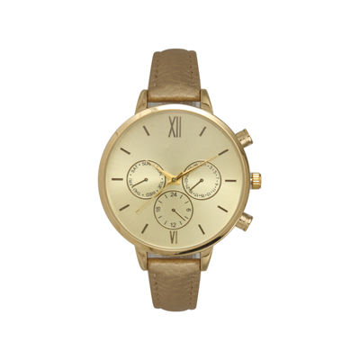 Olivia Pratt Womens Gold Tone Strap Watch-16179gold