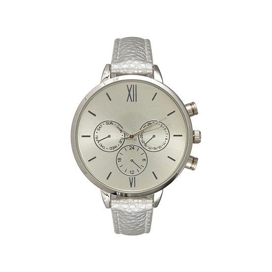 Olivia Pratt Womens Brown Leather Strap Watch-16674darkbrowngold
