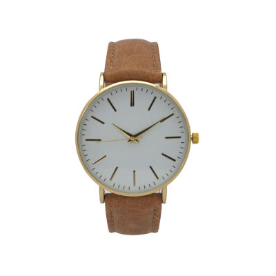 Olivia Pratt Womens Brown Strap Watch-16674lightbrown