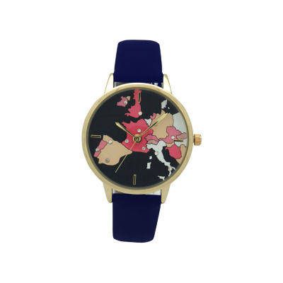 Olivia Pratt World Map Print Dial Womens Blue Strap Watch-16624navy