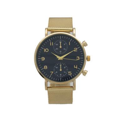 Olivia Pratt Floral Mesh Womens Gold Tone Strap Watch-17153goldnavy