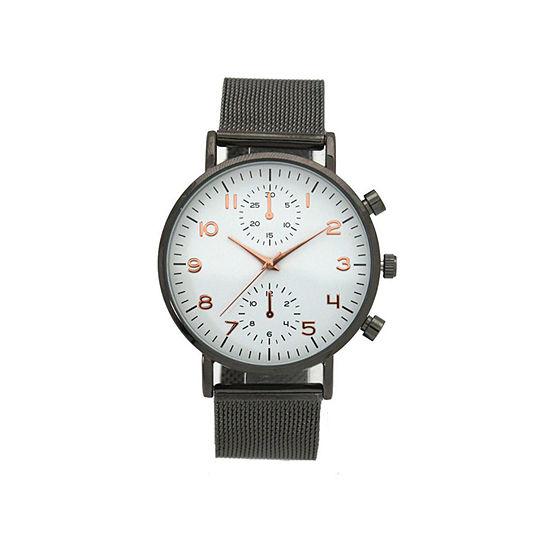 Olivia Pratt Floral Mesh Womens Brown Strap Watch-17153gunmetalwhite