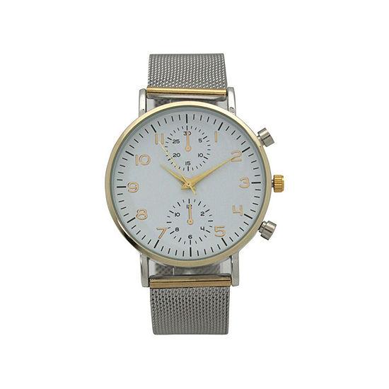Olivia Pratt Floral Mesh Womens Two Tone Bracelet Watch-17153twotone