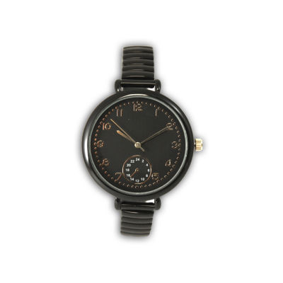 Olivia Pratt Womens Brown Strap Watch-15541gunmetal