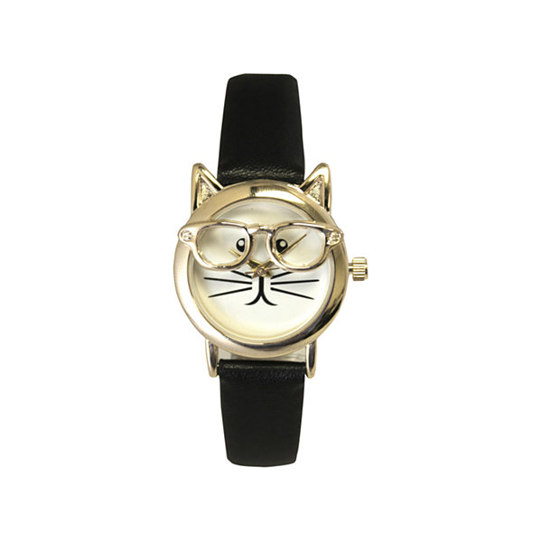 Olivia Pratt Cat Womens Black Strap Watch-15097blackgold