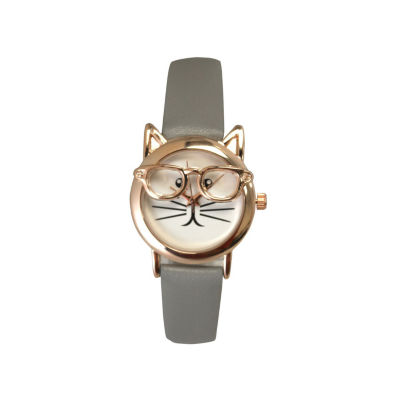 Olivia Pratt Cat Womens Gray Strap Watch-15097greyrose