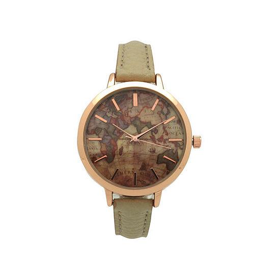 Olivia Pratt Southern Hemisphere Map Womens Gray Strap Watch-A917470grey