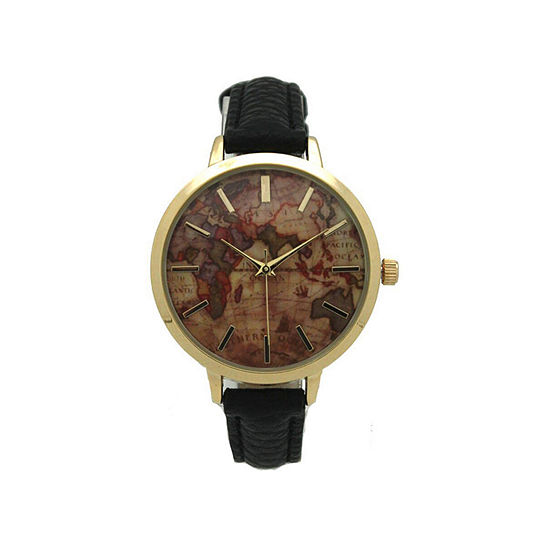 Olivia Pratt Southern Hemisphere Map Womens Black Leather Strap Watch-A917470black