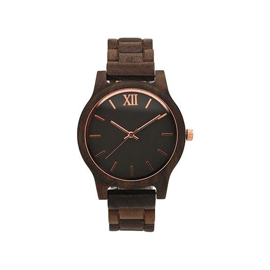 Olivia Pratt Womens Brown Strap Watch-A917397darkbrown