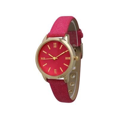 Olivia Pratt Denim Womens Pink Strap Watch-14086pink