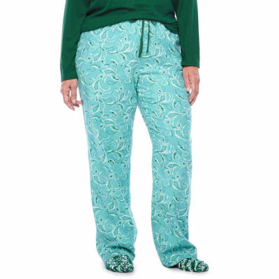 Liz Claiborne Knit Top and Flannel Pant Pajama Set with Sock -Plus