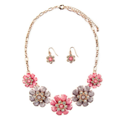 Mixit Womens 3-pc. Clear Flower Necklace Set