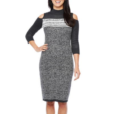 Danny & Nicole Long Sleeve Cold Shoulder Sweater Dress