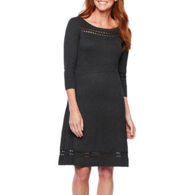 Liz Claiborne Cut Outs 3/4 Sleeve Sweater Dress