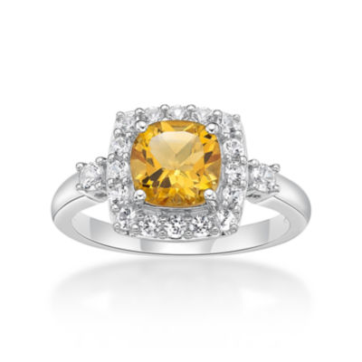 Womens Genuine Citrine & Lab-Created White Sapphire Sterling Silver Cocktail Ring