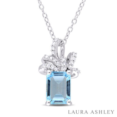 Laura Ashley Blue Topaz Cushion Sterling Silver Pendant