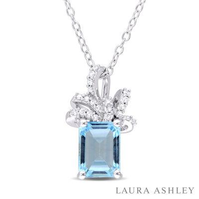 Laura Ashley Blue Topaz Cushion Sterling Silver Pendant