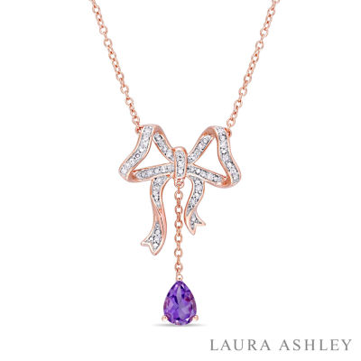 Laura Ashley Womens Genuine Purple Amethyst 18K Gold Over Silver Bow Pendant