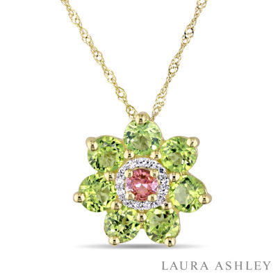 Laura Ashley Womens Genuine Green Peridot 18K Gold Over Silver Flower Pendant Necklace