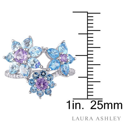 Laura Ashley Womens Genuine Blue Blue Topaz Sterling Silver Cocktail Ring