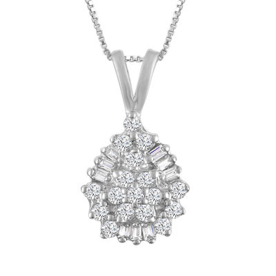 Womens 1/4 CT. T.W. Genuine White Diamond 10K Gold Pendant Necklace