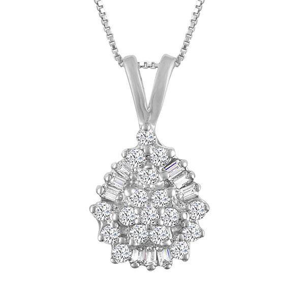 Fine Jewelry Womens 1 CT. T.W. White Diamond 10K Gold Pendant Necklace mFYJQU