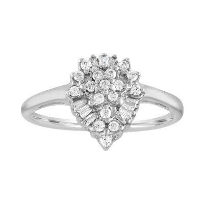 Womens 1/4 CT. T.W. White Diamond 10K Gold Cluster Ring