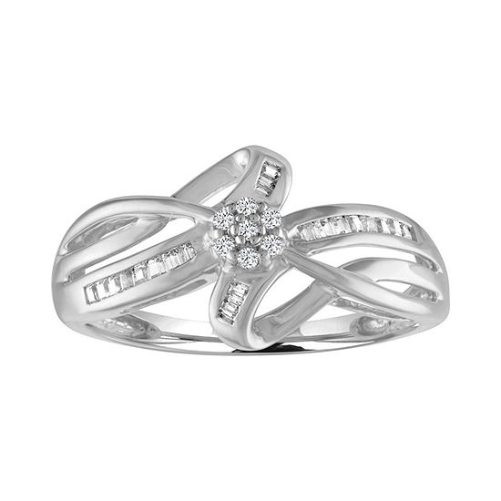 Womens 1/7 CT. T.W. Genuine White Diamond Cluster Cocktail Ring