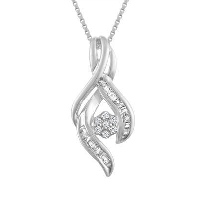 Womens 1/7 CT. T.W. White Diamond 10K Gold Pendant Necklace