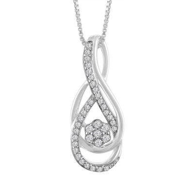 Womens 1/7 CT. T.W. Genuine White Diamond 10K Gold Pendant Necklace