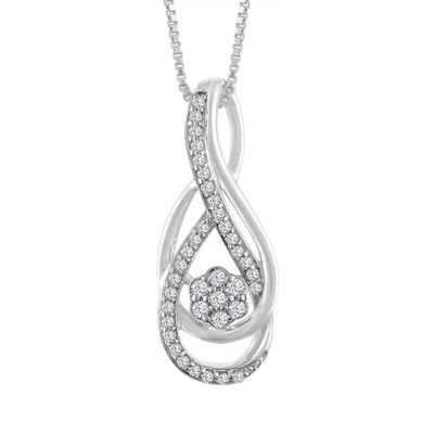 Womens 1/7 CT. T.W. Genuine White Diamond 10K Gold Pendant Necklace
