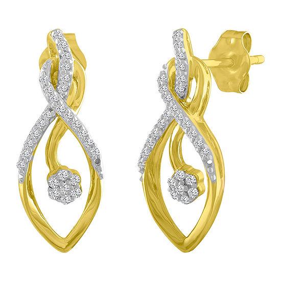 1/7 CT. T.W. Genuine White Diamond Drop Earrings