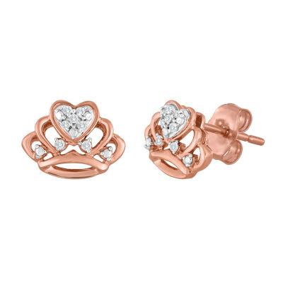 Diamond Accent Genuine White Diamond 10K Rose Gold 7.1mm Stud Earrings