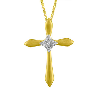 Womens Diamond Accent Genuine White Diamond 10K Gold Cross Pendant Necklace