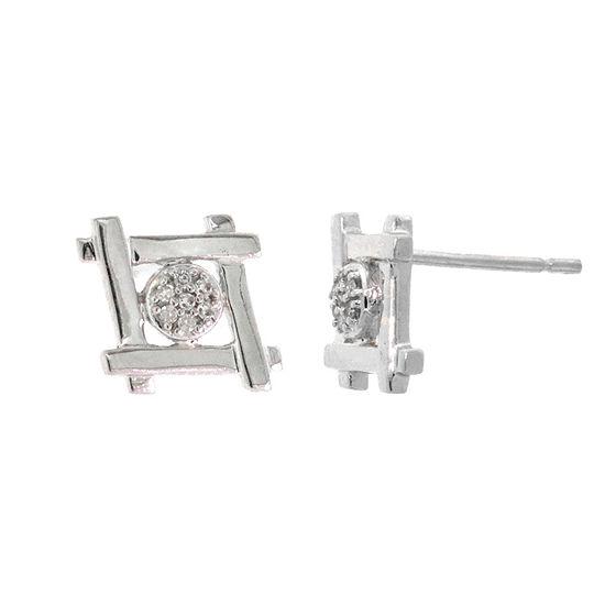 Diamond Accent Genuine White Diamond Sterling Silver 9.8mm Stud Earrings