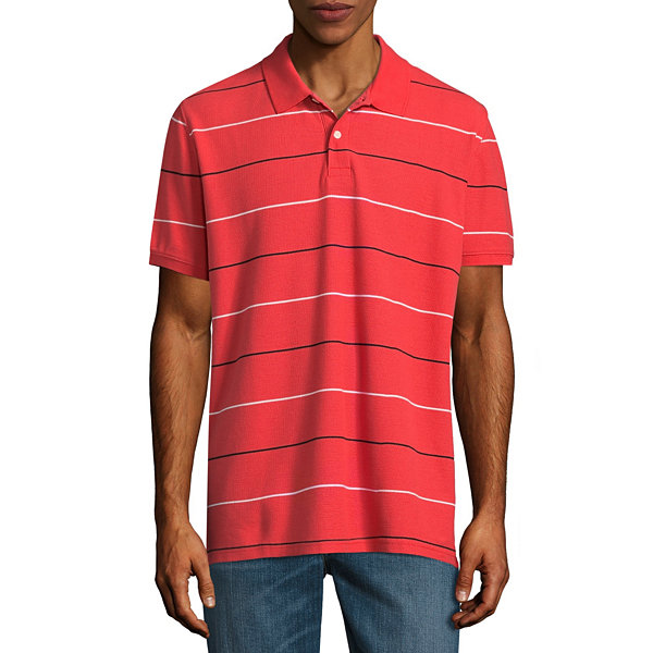 St. John`s Bay Short Sleeve Stripe Performance Pique Polo Shirt