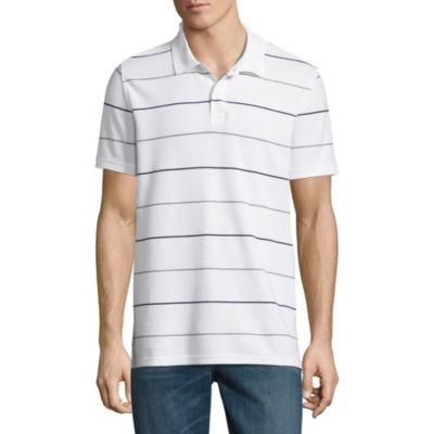 St. John`s Bay Short Sleeve Stripe Performance Pique Polo Shirt