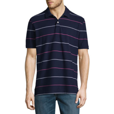 St. John's Bay Easy Care Quick Dry Short Sleeve Stripe Pique Polo Shirt