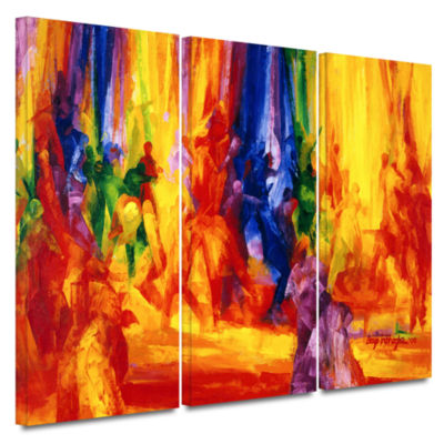Brushstone Dance I 3-pc. Gallery Wrapped Canvas Wall Art