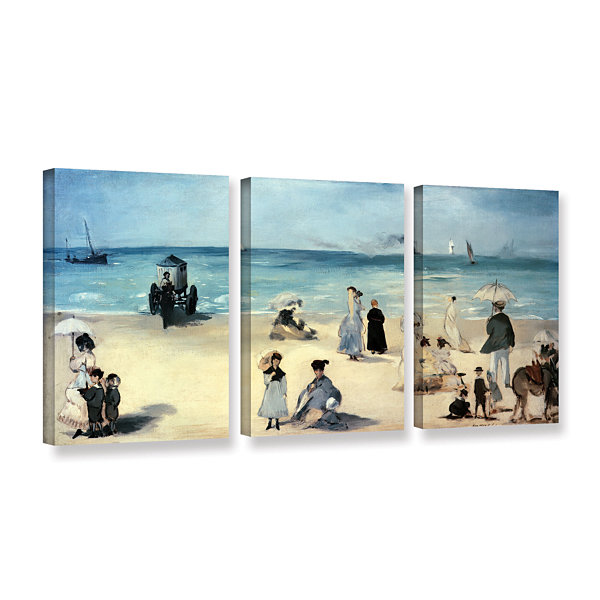 Brushstone Beach Scene 3-pc. Gallery Wrapped Canvas Wall Art
