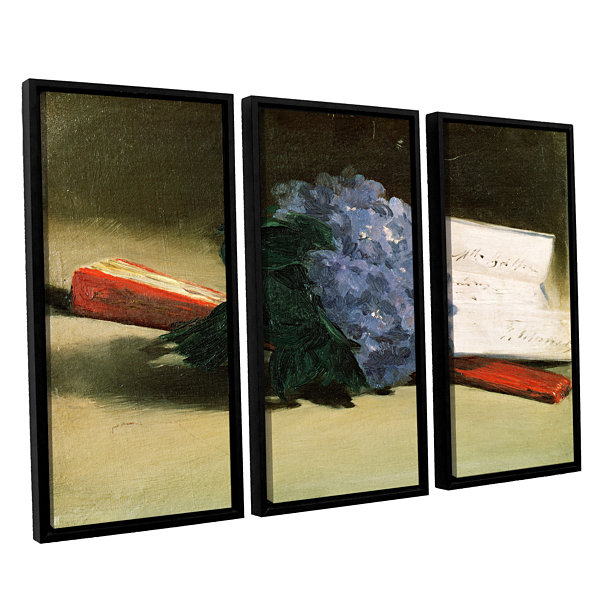 Brushstone Bouquet of Violets 3-pc. Floater FramedCanvas Wall Art