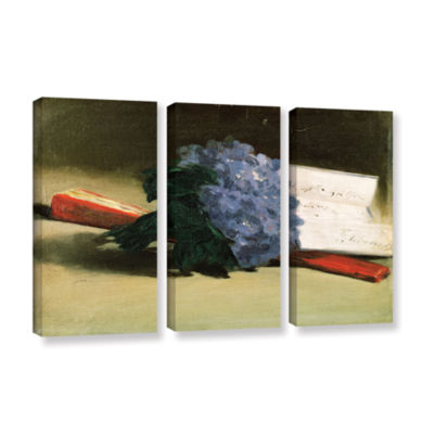 Brushstone Bouquet of Violets 3-pc. Gallery Wrapped Canvas Wall Art